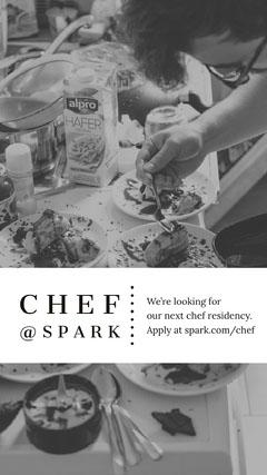 Black and White Chef Job Announcement Chef