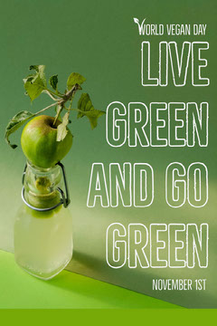 Green World Vegan Day Pinterest Graphic Vegan