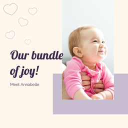 Cream purple bundle of joy new born - instagram square