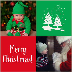 Green and Red Christmas Wishes Collage Instagram Post Christmas Card Photo