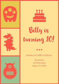 Yellow And Funny Creatures Birthday Party Invitation Einladung zum Geburtstag