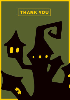 Green Haunted House Halloween Party Thank You Card Halloween Party Thank you Card