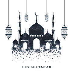 Navy and White Traditional Mosque and Lanterns Illustrated Eid Greeting Eid Mubarak