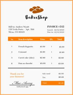 Orange and White Bakershop Receipt  Bakery