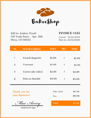 Orange and White Bakershop Receipt  청구서