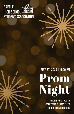 Orange Bokeh High School Prom Poster with Fireworks Prom Posters