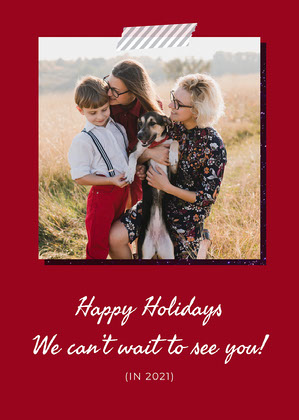 Red Happy Holidays Family Card Christmas Card