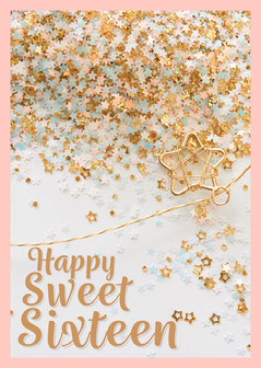 Pink & Gold Stars Sweet Sixteen Card Birthday