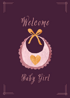 Purple & Pink New Baby Girl Card Baby's First Year
