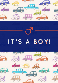 Boy Birth Announcement Card with Car Drawings Car