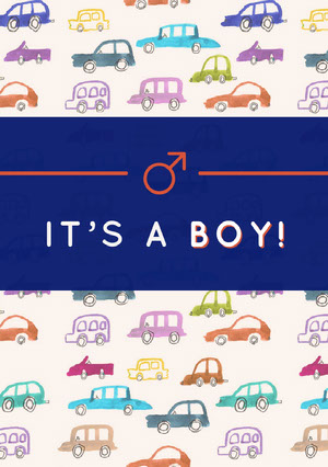Boy Birth Announcement Card with Car Drawings Birth Announcement