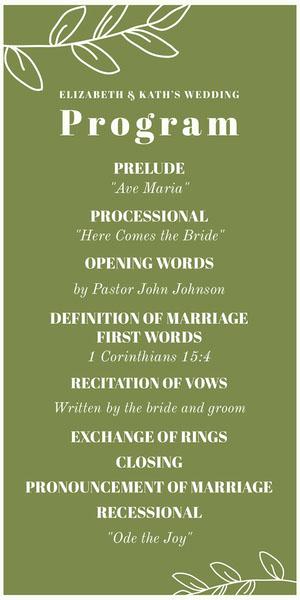 Green Floral Lgbt Wedding Program Programa de bodas