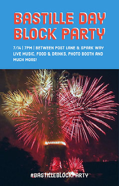 Blue, White and Red Paris Fireworks Instagram Story Block Party Flyer