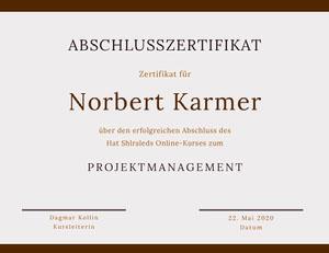 Norbert Karmer Zertifikat