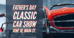 Blue and Red Toned Fathers Day Car Show Facebook Event Cover Car