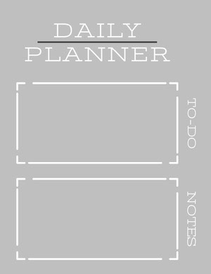 White and Grey Empty Daily Planner Card Agenda giornaliera