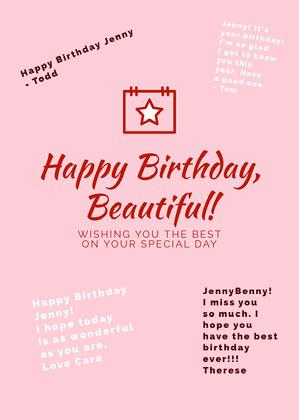 Pink Shareable Group Birthday Card Group Birthday Card
