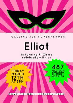 Pink Superhero Invitation  Superhero