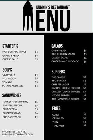 Black and White Fork Modern Restaurant Menu Menü