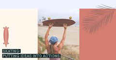 Skateboarding Facebook Post Graphic with Woman on Beach Beach