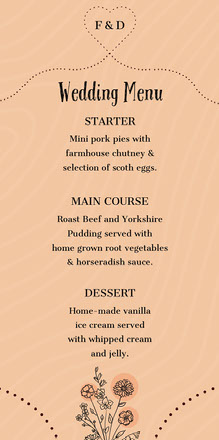rustic hearts wedding menu Menu per matrimonio