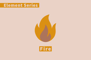 Pink and Orange Element Flashcard Fire Cartão educativo