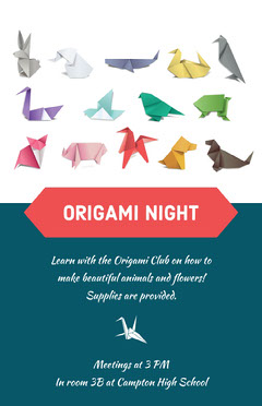 White and Navy Blue Origami Night Flyer Night Club Flyer