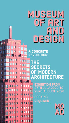 Pink And Blue Building Architecture Exhibition Instagram Story Museum