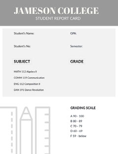White and Grey Empty Report Card Homeschool Report Card