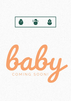 Orange Baby Announcement Card with Illustration of Chick Hatching Aankondiging