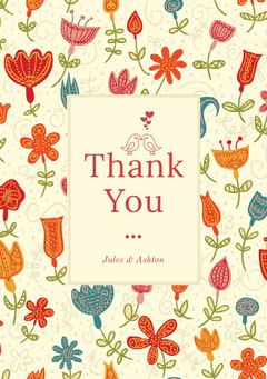 Red Floral Thank You Wedding Card with Birds Bird