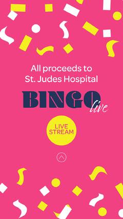 Pink Confetti Bingo Live Fundraiser Instagram Story  Confetti