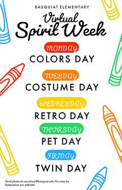 colorful virtual spirit week poster  Spirit Week