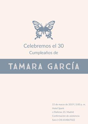 Tamara García  Invitación de cumpleaños
