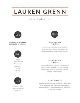 Modern Retail Planner Resume Curriculum professionale