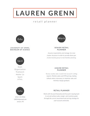 Modern Retail Planner Resume CV