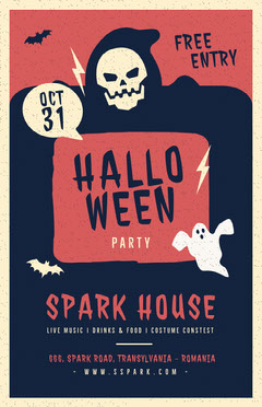 Red and Navy Halloween Ghost Party Flyer Live Music Flyer