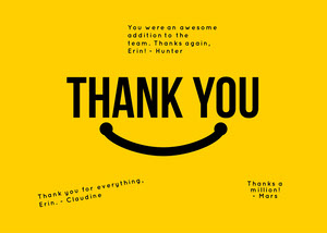 yellow smiley group thank you card Group Thank You Card