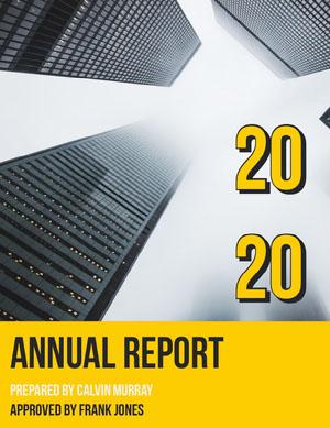 Yellow and Gray Skyscraper Annual Business Report Relatório