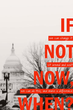 Red Political Inspirational Pinterest Graphic with White House Political Flyer