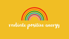 Yellow With Rainbow Positive Energy Desktop Wallpaper Background