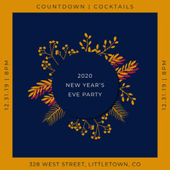 countdown cocktails New Year's Eve party igsquare  Holiday Party Flyer