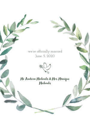 White and Green Wedding Announcement Wedding Announcement