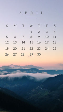 April Calendar Phone Wallpaper Mountains