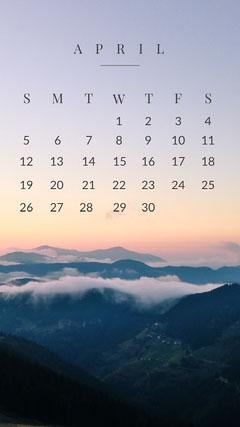 April Calendar Phone Wallpaper Background