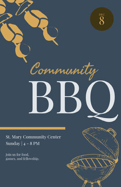 Blue and Yellow Community BBQ Flyer Sunday
