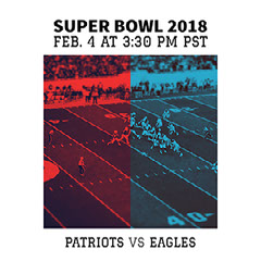 Red and Blue Super Bowl Match Square Social Media Graphic Ad Super Bowl