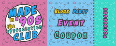 90's club Coupon Block Party Flyer