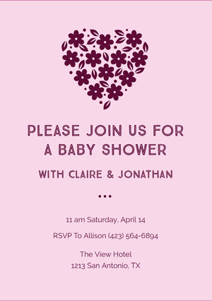 Red and Pink Baby Shower Invitation Annonce de grossesse