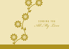 Yellow and Gold Floral Sending Love Postcard Gold